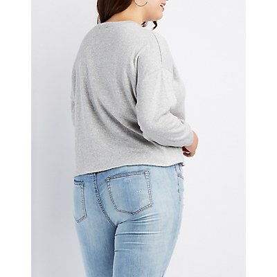 Plus Size French Terry Cropped Sweatshirt