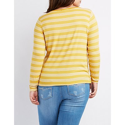 Plus Size Striped & Ribbed Knotted Tee
