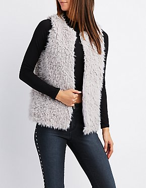 Shaggy Faux Fur Open-Front Vest