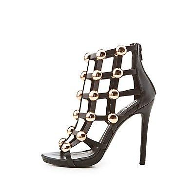 Metal-Detail Caged Peep Toe Sandals