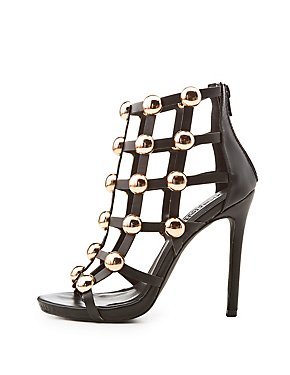 Metal-Detail Caged Peep Toe Sandals