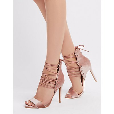 Strappy Lace-Up Two-Piece Sandals