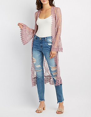 Crochet-Trim Lace Bell Sleeve Duster