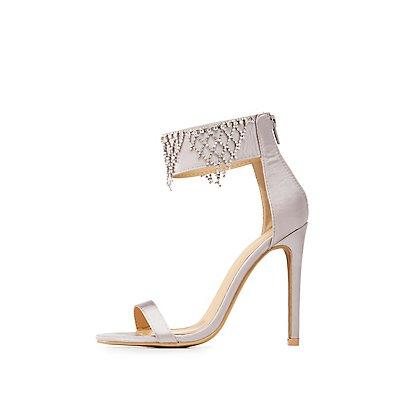 Satin Embellished Two-Piece Dress Sandals