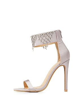 Satin Embellished Two-Piece Dress Sandals