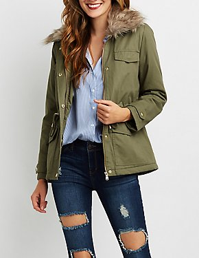Fur Collar Fleece Line Anorak Jacket