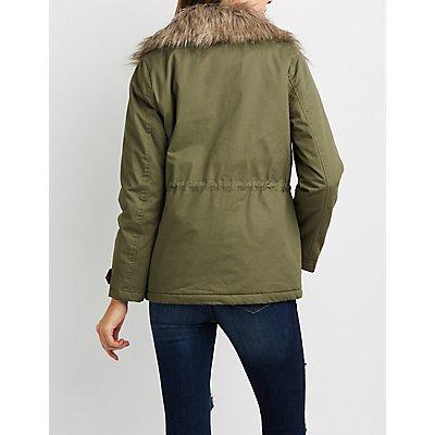 Fur Collar Fleece Line Anorak Jacket