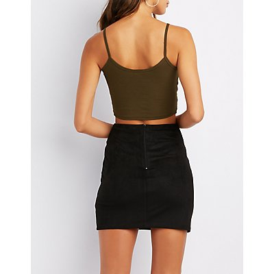 Ribbed V-Neck Cropped Cami