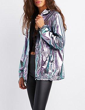 Iridescent Hooded Anorak Jacket