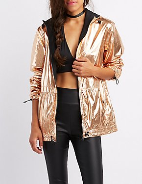 Metallic Hooded Anorak Jacket