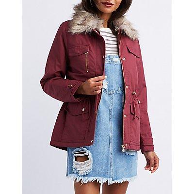 Faux Fur-Trim Anorak Jacket