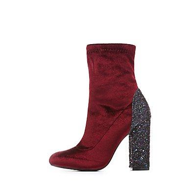 Embellished Velvet Sock Booties