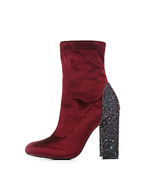 Embellished Velvet Sock Booties