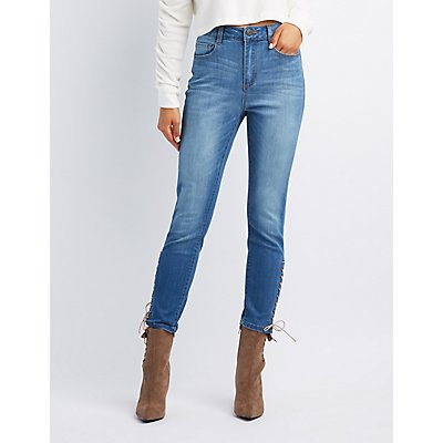 Refuge Lace-Up Detail Skinny Jeans