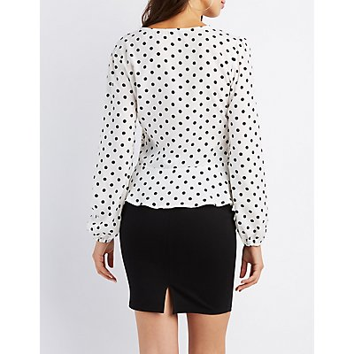 Polka Dot Wrap Front Top