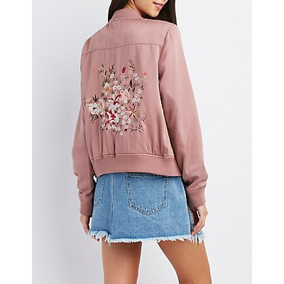 Embroidered Twill Bomber Jacket