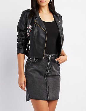 Embroidered Faux Leather Moto Jacket