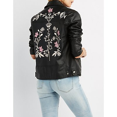 Faux Leather Floral Print Moto Jacket