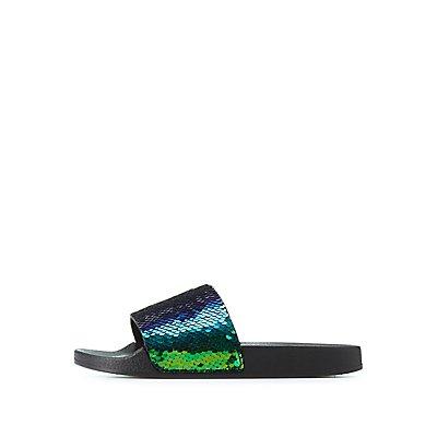 Bamboo Sequins Slide Sandals