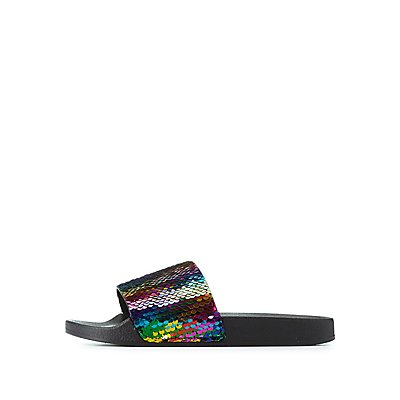 Bamboo Rainbow Sequins Slide Sandals