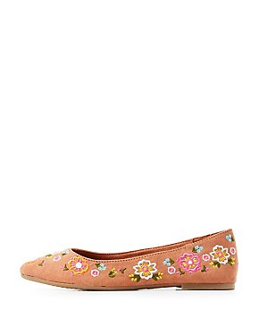 Bamboo Embroidered Pointed Toe Flats