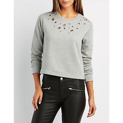 Grommet Detail Pullover Sweatshirt