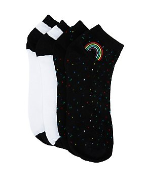 Rainbow Patch Ankle Socks - 2 Pack