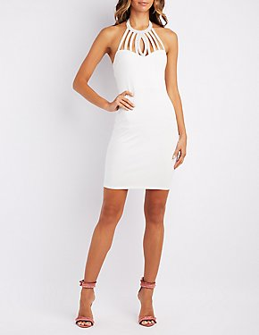 Embellished Bib Neck Bodycon Dress