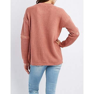 Shaker Stitch Zipper-Trim Choker Neck Cut-Out Sweater