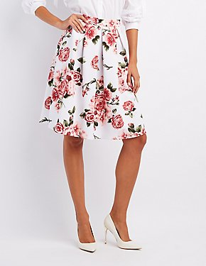Floral Pleated Midi Skirt