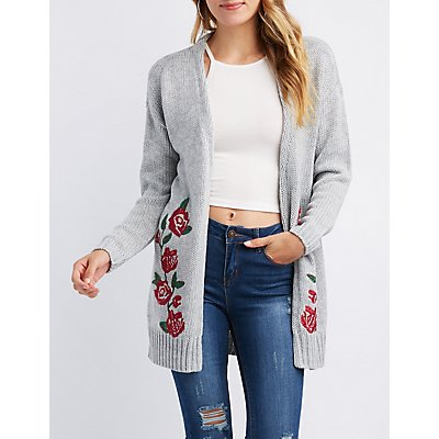 Floral Embroidered Shaker Stitch Open Front Cardigan