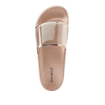 Bamboo Clear & Metallic Slide Sandals