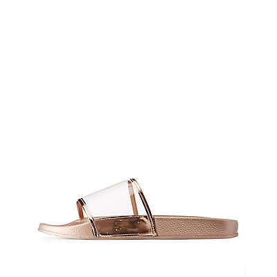 Bamboo Clear & Metallic Slide Sandals