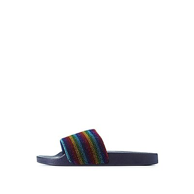 Bamboo Metallic Rainbow Slide Sandals