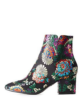Bamboo Floral Brocade Ankle Booties