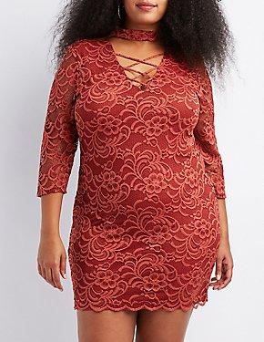 63e607b15f7c Plus Size Choker Neck Lattice-Front Bodycon Dress