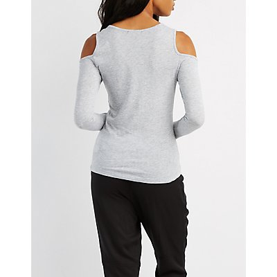 Lattice-Front Cold Shoulder Top