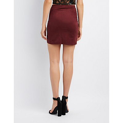 Faux Suede Scalloped Hem Skirt