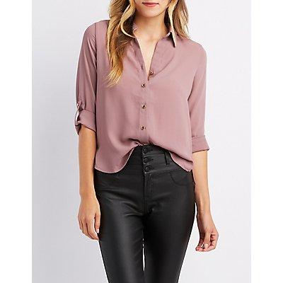 Zipper Back Button Down High-Low Shirt