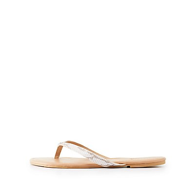 Faux Snakeskin  Flip Flop Sandals