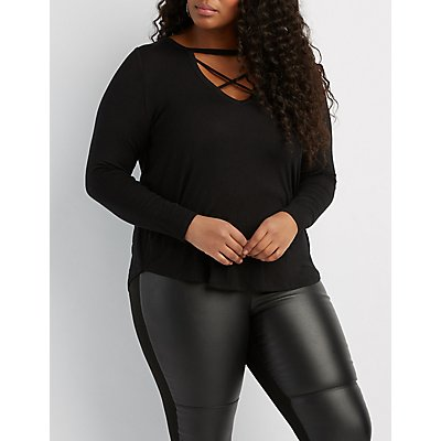 Plus Size Caged-Front Boyfriend Tee