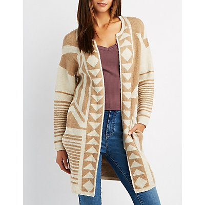 Geometric Patterned Open-Front Cardigan