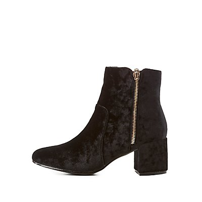 Velvet O-Ring Zipper-Trim Ankle Booties