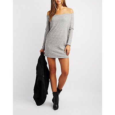 Wrapped Off-The-Shoulder Sweater Dress
