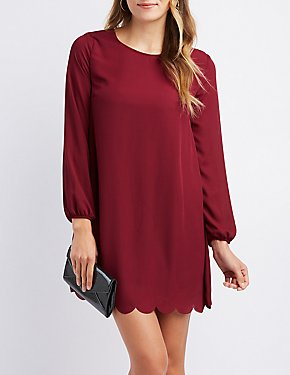 Scalloped Open-Back Shift Dress