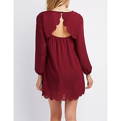Scalloped Open-Back Shift Dress