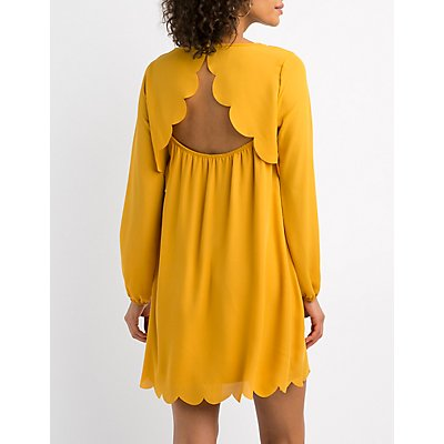 Scalloped-Trim Open-Back  Shift Dress
