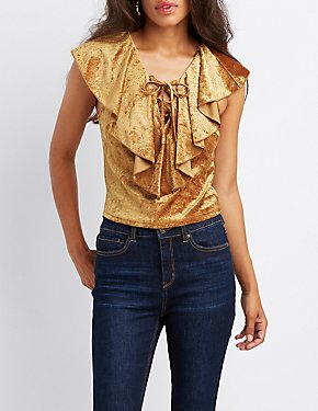 Velvet Ruffle-Trim Lace-Up Top