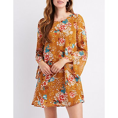 Floral Keyhole Shift Dress