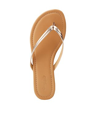 Metallic Patent Flip Flop Sandals